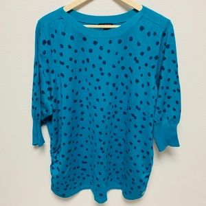 NEW Lane Bryant Turquoise Polka Dot Sweater 22/24